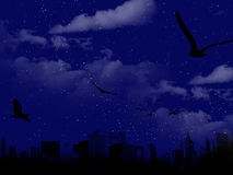 Beautiful night scene with city silhouette Royalty Free Stock Images