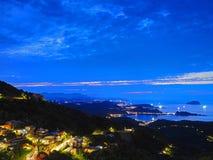Beautiful night scene of coastline in Taipei Royalty Free Stock Image