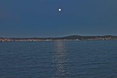 Beautiful Night Scene in Cunda İsland. Turkey Royalty Free Stock Photo