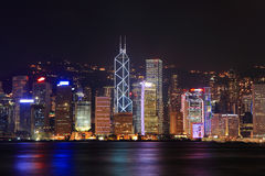 Beautiful Night Scene of Hong Kong Royalty Free Stock Image