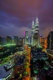 Beautiful night scene of Kuala Lumpur city skyline Stock Images