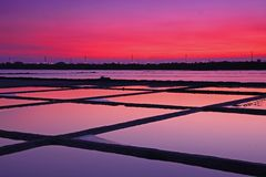 Beautiful Night Scene of Salt Pan in Tainan Royalty Free Stock Photo