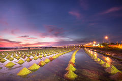 Beautiful Night Scene of Salt Pan Stock Images