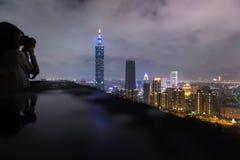 The beautiful night scene of Taipei, Taiwan city skyline Royalty Free Stock Image