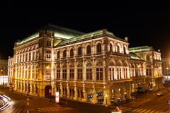 Wien opera house. Beautiful night scene of the Viennese opera house Stock Images