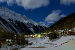 Beautiful night scenery of popular ski resort Solda Sulden. South Tyrol, Italy Royalty Free Stock Photos