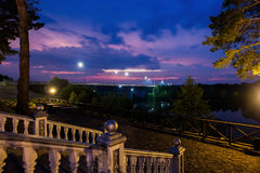 Beautiful night scenery on the river, view of the Dnieper Royalty Free Stock Photos