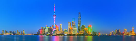 Beautiful night Shanghai's cityscape with the city lights on the Huangpu River, Shanghai, China Royalty Free Stock Photo