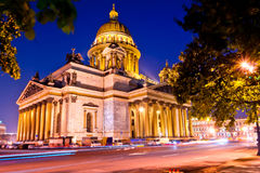 Beautiful night shot of the Cathedral of St. Isaac's Cathedral Royalty Free Stock Photo