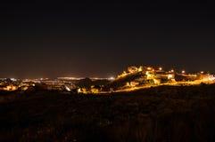 Beautiful Night Shot of Illuminated Spanish Village on a Hill wi Royalty Free Stock Photos