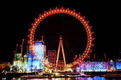 Night Shot of Coca Cola London Eye in United Kingdom royalty free stock images