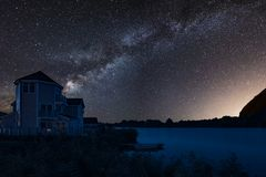 Beautiful night sky astrophotography landscape image of MILKY WA. Beautiful night sky astrophotography landscape image of stars over still lake royalty free stock images