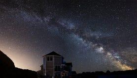 Beautiful night sky astrophotography landscape image of MILKY WA. Beautiful night sky astrophotography landscape image of stars over still lake stock photos