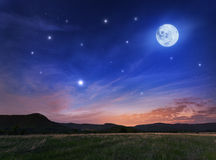Beautiful night sky with the full moon and stars. Spring in Crimea Royalty Free Stock Images