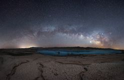 Milky Way Panorama from Stewarts Point in Nevada. Beautiful night sky of the Milky Way Galaxy and Jupiter arching over Lake Mead from Stewarts Point royalty free stock photos