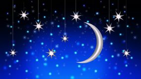 Beautiful night sky moon and stars, best loop video background to put a baby to sleep, calming relaxing