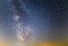 Beautiful night sky scene with milky way. Night background stock photos