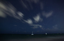The beautiful night sky, stars and the sea Stock Images
