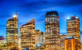 Beautiful night skyline of Sydney, Australia.  Royalty Free Stock Photo