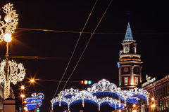 Beautiful night St. Petersburg, Nevsky Prospekt, Сhristmas, new year. St. Petersburg, Nevsky Prospekt, Сhristmas and new year 2017 Stock Photography