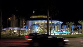 Beautiful night stock video Kravis Center for the Performing Arts West Palm Beach FL USA
