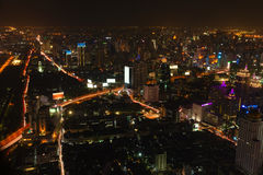 Beautiful Night Time City Scape of Bangkok, Thailand Stock Photos