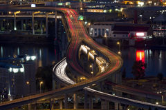 Beautiful Night Traffic on Bridge and River Royalty Free Stock Photos