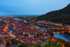 Beautiful night view of Alte Brucke in Heidelberg Royalty Free Stock Photos