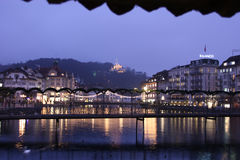 Beautiful night view from the bridge. Lucerne, Switzerland - Novembre 24 2016. Beautiful night view from the bridge Stock Photos