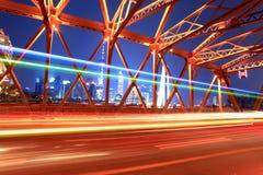 Beautiful night view  bridge in shanghai Stock Photos