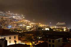 Beautiful night view of the capital of Madeira Funchal, Portugal stock photos