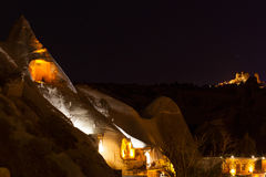 Beautiful night view of Cappadokia Uchisar castle Stock Images