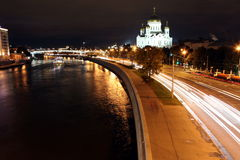 Beautiful Night View Cathedral of Jesus Christ the Saviour and M Stock Photo