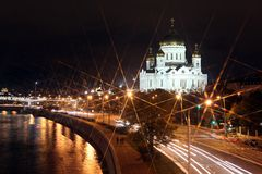 Beautiful Night View Cathedral of Jesus Christ the Saviour and M Royalty Free Stock Photography