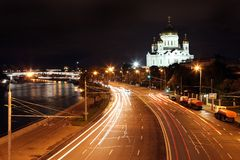 Beautiful Night View Cathedral of Jesus Christ the Saviour and M Stock Images