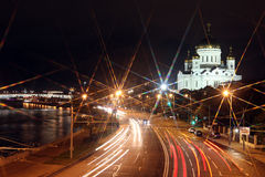 Beautiful Night View Cathedral of Jesus Christ the Saviour and M Stock Image