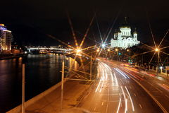 Beautiful Night View Cathedral of Jesus Christ the Saviour and M Royalty Free Stock Images