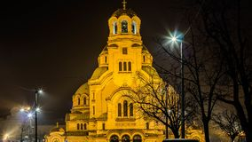 Beautiful night view in central Sofia Temple St. Alexander Nevski. Bulgaria royalty free stock photography