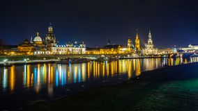 Beautiful night view of the city and reflections in the Elbe riv. Er in Dresden, Germany Stock Photos