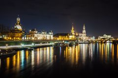 Beautiful night view of the city and reflections in the Elbe riv. Er in Dresden, Germany Stock Photo