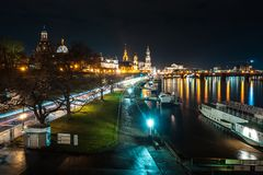 Beautiful night view of the city and reflections in the Elbe riv. Er in Dresden, Germany Stock Photography