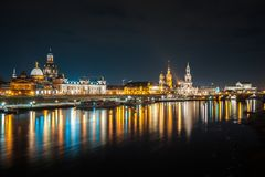 Beautiful night view of the city and reflections in the Elbe riv. Er in Dresden, Germany Stock Images