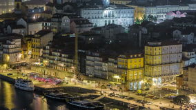 Beautiful night view of the Douro River timelapse stock video