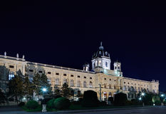 Beautiful night view of famous Naturhistorisches Museum Natural. History Museum with park in Vienna, Austria Stock Image