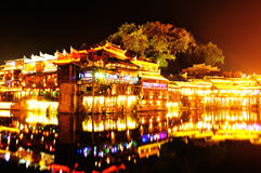 Beautiful night view of fenghuang ancient town Royalty Free Stock Images