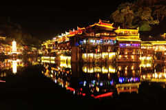 Beautiful night view of fenghuang ancient town Royalty Free Stock Photography