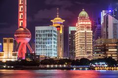 Beautiful night view of glowing modern buildings, Shanghai royalty free stock photo