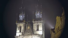 Beautiful night view of Gothic church at the Old Town of Prague, Czech Republic. Stock footage stock footage