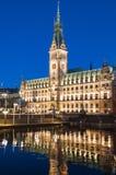 Beautiful night view of Hamburg city hall. Beautiful night view of Hamburg city hall with reflection in water, Germany, Europe stock photo