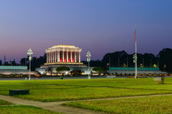Beautiful night view of Ho Chi Min mausoleum stock images